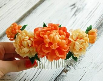 Flower Hair Comb with orange peony