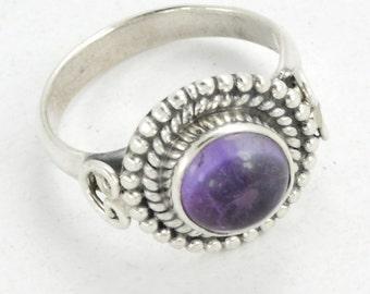 Amethyst Ring, Silver Amethyst Ring, Stone Ring, Natural Amethyst Silver Ring, Amethyst stone Ring, Silver Rings, February Birthstone Ring