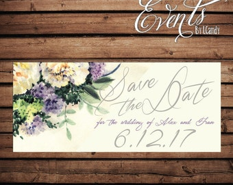 Wedding Save-the-Date Sample - with watercolor hydrangea