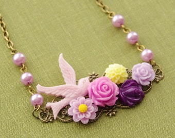 Purple Bird Necklace, Lilac Flowers Collage Necklace, Amethyst Purple Flowers Necklace, Swallow Bird Pearl Necklace, Wedding Bridal Necklace