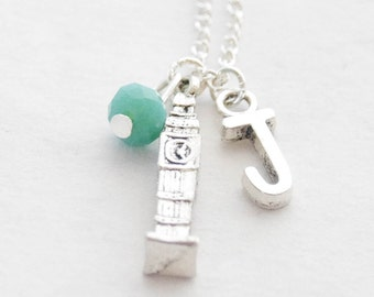 Big Ben Necklace Clocktower Necklace Silver Clock Charm Necklace British Jewelry London Necklace UK Grad Gift Graduation Gift Grad Necklace