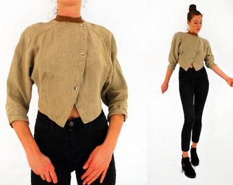80s cropped jacket Avant garde vintage beige linen suit jacket round collar 1980s power dressing Medium UK 12