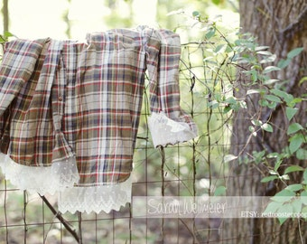 Large Upcycled Flannel with lace~ LARGE