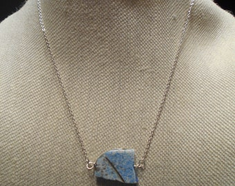 Slab of Turquoise Necklace on sterling Silver chain and lobster claw clasp