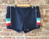 Men's 80s Jantzen Swim Trunks Beach Shorts - Waist 36/38 Vintage Swim Trunks - Navy Blue Swim Trunks