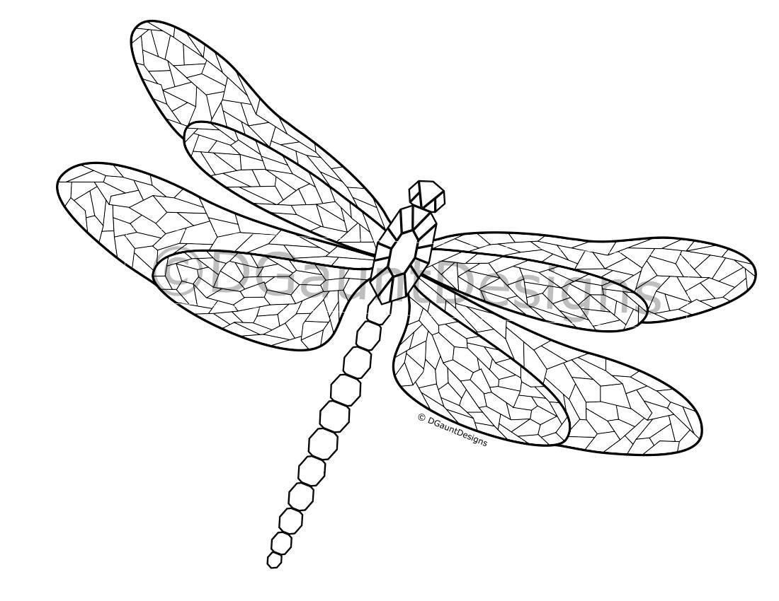 Mosaic dragonfly coloring page for download for Dragonfly coloring pages