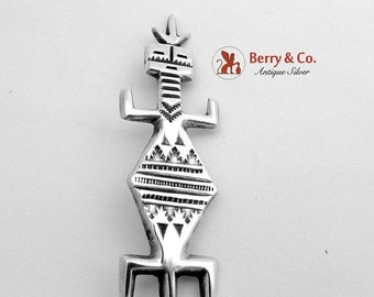 SaLe! sALe! Stylish Navajo Corn God Brooch Sterling Silver Lamer