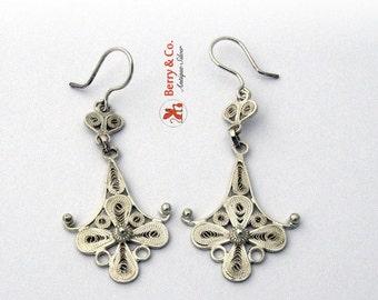 SaLe! sALe! Filigree Dangle Earrings Sterling Silver Hand Made Eb56