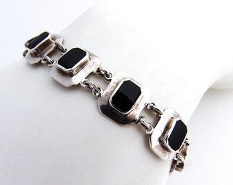 SaLe! sALe! Onyx Geometric Bracelet Sterling Silver