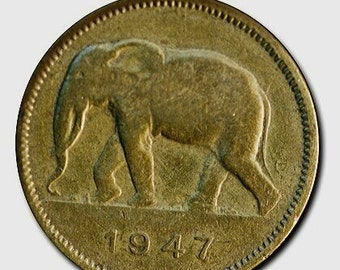Elephant coin - Antique rare Elephant coins from Belgian Congo - brass coins - 2 franc - African Elephant - collectible coins