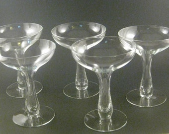 Vintage hollow stem champagne glasses (5),  Art Deco style, clear bowl, mid century barware