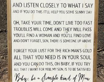 Simple Man Lyrics sign