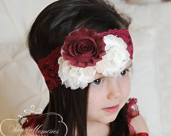Burgundy  Headband/Dusty Pink Headband/Flower Girl Headband/Infant Headband/Baby Headband/Newborn Headband/Toddler Headband/Girl Headband