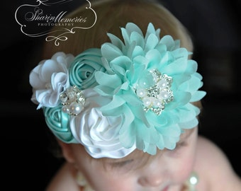 Aqua Headband/Baby Headband/Baby Headbands and Bows/Infant Headband/Baby Girl Headband/Girl Headband Baby/Toddler Headband/Baby Romper