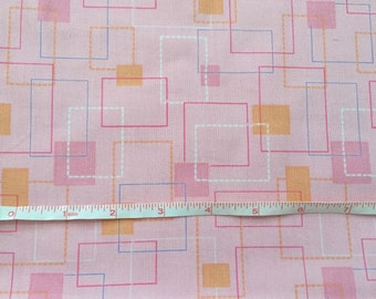 Pink with Squares Fabric Cotton 1/2 yard by 44""