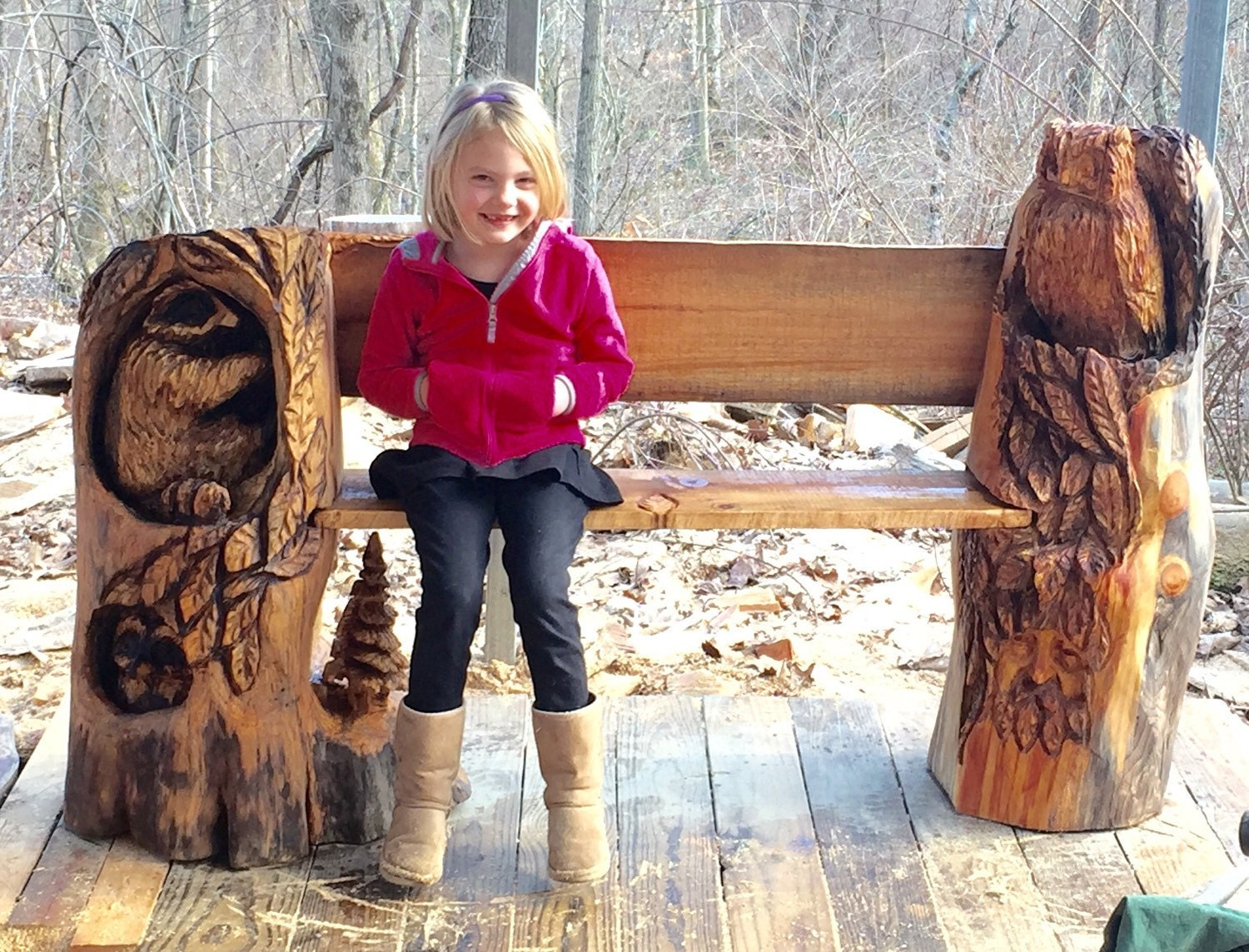 Bench Wood Carving Chainsaw Carving Log Furniture By