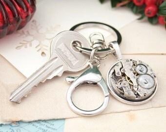 New Home Keyring / Steampunk Keychain / Watchwork Keyring/ Steam Punk Housewarming Gifts New Home / New Home Gifts / Round Metal Keychain