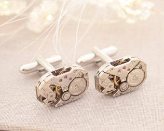Steampunk Cufflinks/ Gifts for Husband/ Christmas Gifts for Men Cufflinks/ Watch Mechanism Jewelry/ Silver Cuff links/ Watch Cufflink