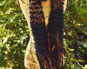 HANDMADE Knit Scarf-NAVY with Orange