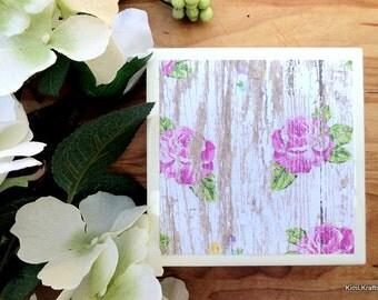 Tile Coaster - Rustic Coaster - Farmhouse Coasters - Coasters Tile - Handmade Coasters - Floral Coasters - Rustic Coasters - Coasters