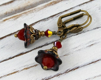 Gray and Coral Bells - vintage style antique brass earrings