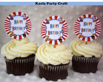 Circus cupcake toppers. Circus themed party. Circus party. Circus birthday. Circus baby shower. Carnival birthday. Carnival theme party