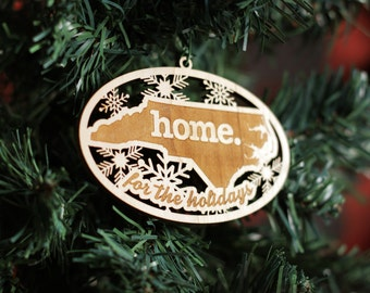 Engraved North Carolina Wood Christmas Ornament