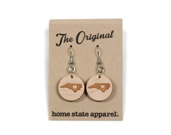 Big Circle Heart-Light Dangle Earrings by Home State Apparel
