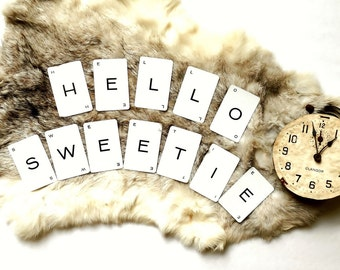 HELLO SWEETIE ~ Whovian Vintage Word Cards, Dr Who Banner, Cardmaking or Wall Art