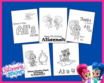 Shimmer and Shine Personalized Coloring Book - For Birthdays and All Occasions - Favors & Gifts - Personalize With Name and Age - Download