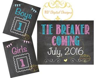 Pregnancy Announcement - 3 sign set Boys, Girls, Tiebreaker- Chalkboard announcement - Baby announcement