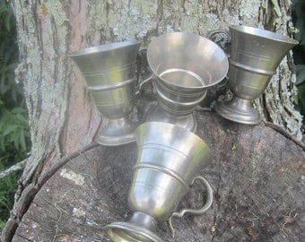 Set of Six Pewter Frieling-Finn Cups Made in Germany