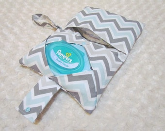 Mist and Grey Chevron Diaper and Baby Wipe Clutch for Huggies, Pampers Wipes