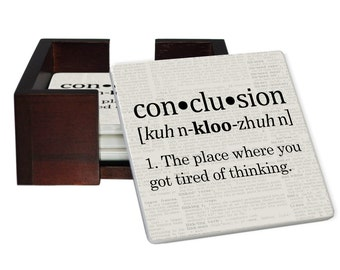 Conclusion Definition Coaster Set - Sandstone Tile with Cork Back - 4 Piece Set -  Wood Box Caddy Included