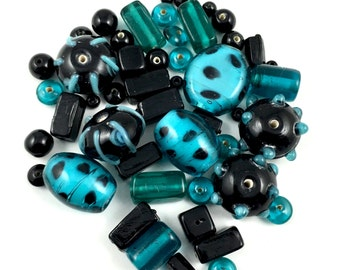 50  glass beads turquoise black color and grey 4mm to 20mm #PV 005