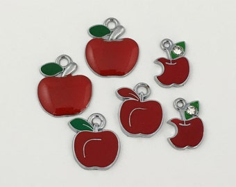 6 apple charms red enamel and silver tone #CH 020-1