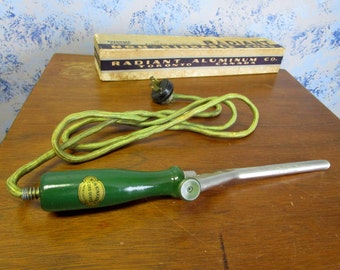 """30s 3/8"""" Curling Iron Radiant Electric in Original Box """"Works"""""""