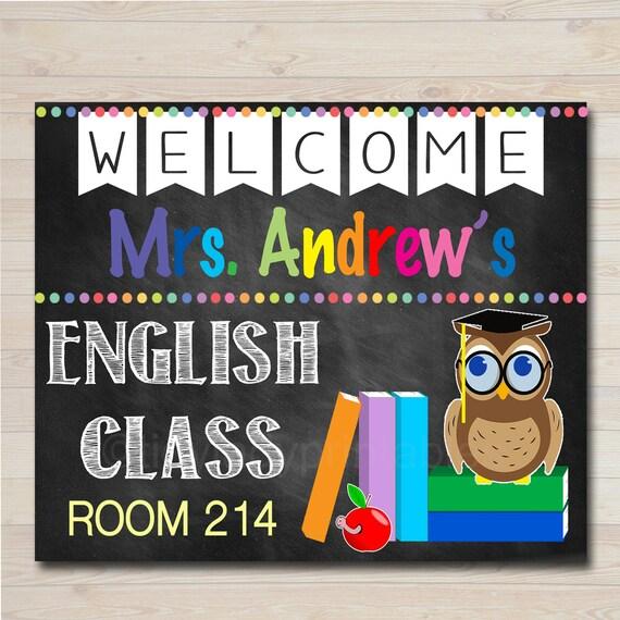 Free Esl Classroom Decorations ~ English teacher classroom door sign printable