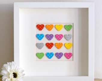 Framed art - Framed wedding gift - Framed gift - Rainbow hearts - Rainbow