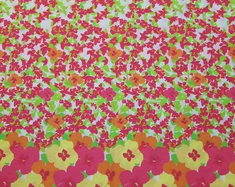 New Lilly Pulitzer Fabric Hotty Pink Floral Punch  21 x 42 inches