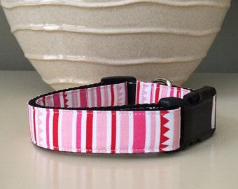 Dog Collar / Random Stripes Pinks Creams - Valentines
