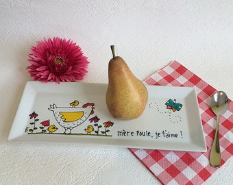 Decorative plate, Serving Plate Porcelain, Hen, Hand painted