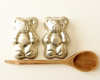 Vintage set of two small tin teddy bear molds / cake jello forms