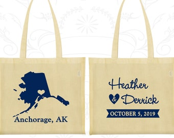 Alaska Wedding, Alaska Tote Bags, Cheap Canvas Bags, Destination Wedding Bags, State Tote Bags, Custom Tote (101)