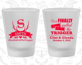 We finally pulled the trigger, Imprinted Frosted Shot Glass, Shotgun Wedding, Antler, Frosted Glasses (564)