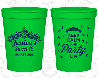 16th Birthday Party Cups, Plastic Birthday Cups, Sweet 16 Cups, Keep Calm and Party on, Birthday Party Cups (20140)
