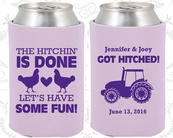 The Hitchin is Done, Lets Have Some Fun, Wedding Party Favors, Farm Wedding Favors, Chicken, Tractor, Cheap Can Coolers (497)