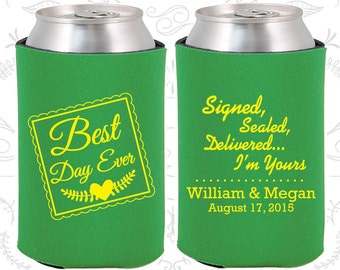 Best Day Ever, Signed, Sealed, Delivered, I am Yours, Personalized Wedding Favor, Best Day Ever Wedding Favors, Romantic Wedding Favor (591)