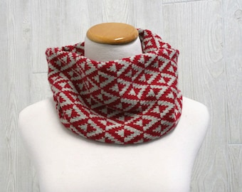 Geometric Triangle Neckwarmer, Knit Fair Isle,  Red and Gray, Mens accessory, Womens accessory, Unisex cowl
