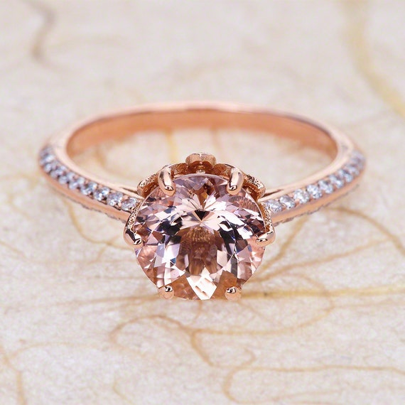 Rose Gold Morganite Louts Flower 14K Engagement Ring Center Is A 8MM Round Morganite